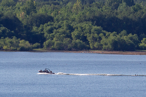 Power Boat and Water Skier in Chatfield Reservoir
