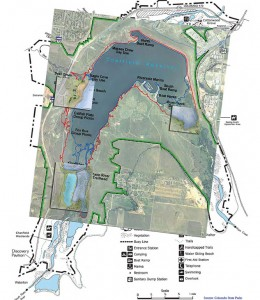 Map of Chatfield Sate Park with areal photos superimposed.
