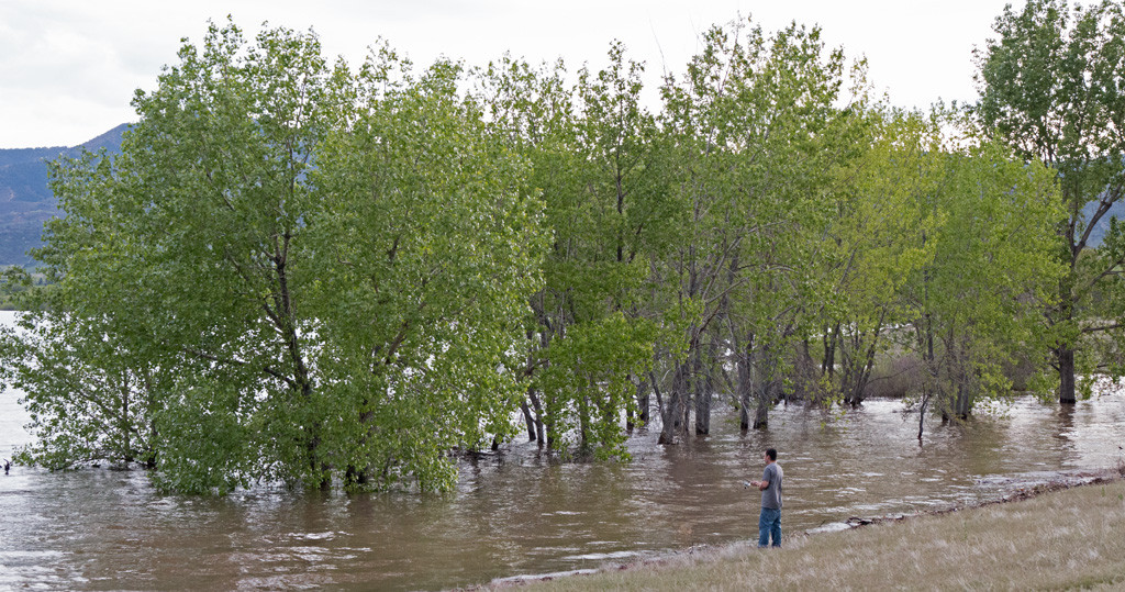 A fisherman near the North Boat Ramp on May 14, 2015. Click on photo to enlarge.